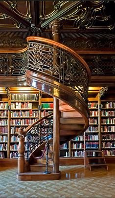 Spiral staircase, Library, Budapest, Hungary , from Iryna