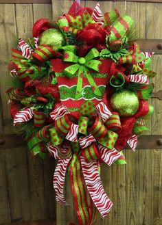 Whimsical Christmas Mesh Wreath on Etsy, $95.00 by xyz732556