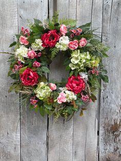 Hydrangea Wreath Peony Wreath Cottage Wreath by KathysWreathShop, $99.99