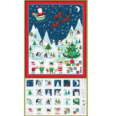 Makower Christmas Fabric Frosty Scenic Advent Calendar Panel - The Sewing Studio Fabric Advent Calendar, Christmas Countdown Calendar, Days To Christmas, Christmas Sewing, Christmas Fabric, A Christmas Story, Christmas 2016, Self Tissu, Xmas