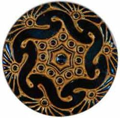 Black/Blue Glass Button with Gold Pattern