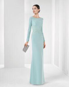 9T188 Rosa Clara 2016 Cocktail Collection |  Beaded crepe dress. Available in green, cobalt, smoke, silver, blue, black, coral and red.