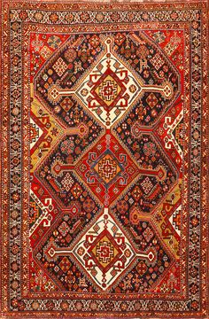 Burgondy Tribal Antique Persian Qashqai Rug 50468