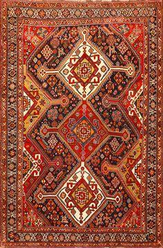 Burgondy Tribal Antique Persian Qashqai Rug 50468