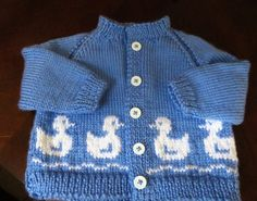 Duck motif hand knit toddler sweater: cardigan by CardinalLane Baby Sweater Patterns, Baby Sweater Knitting Pattern, Baby Knitting Patterns, Baby Patterns, Knitting For Kids, Hand Knitting, Baby Pullover Muster, Toddler Sweater, Crochet Shawls And Wraps
