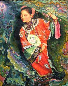 """Di Li Feng """"Lady With Fan"""" - Southwest Gallery: Not Just Southwest Art."""