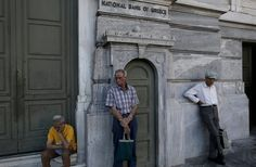 July 10, 2015 YANNIS KOLESIDIS/EUROPEAN PRESSPHOTO AGENCY Retirees on Thursday at a National Bank of Greece branch in central Athens. The Greek plan appears to include pension cuts.