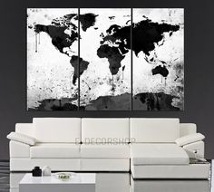 BIG SALE Italy Map Print Italy Print Italy Art Italy Wall Art - Big black and white world map