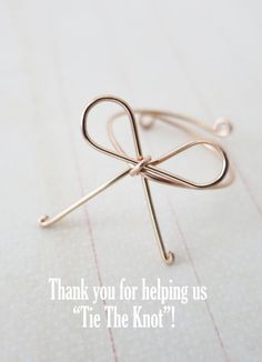 Rose Gold Filled Bow Ring - Tie the Knot, Hand wired bow, Bridesmaid gifts, rose gold bow jewelry, Wedding Bridesmaid jewelry, bow ringblush weddings, pink weddings, rose gold weddings, bridesmaid jewelry, bridal shower gifts, www.colormemissy.com