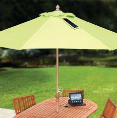Hammacher Schlemmer's #Solar #Umbrella Charges Phones with the Sun trendhunter.com