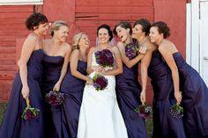 Bridesmaid Photo. Dark Purple