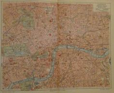 1896 LONDON INNERE STADT alte Landkarte Stadtplan Antique City Map Lithographie