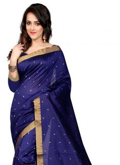 Attractive blue colour polycotton saree.Get Compliments For Your Classy Taste With This Saree With Unstitched Blouse Piece. Made From High Quality Fabric, This Saree Will Definitely Retain Its Price. You Will Love To Have This Amazingly Printed Saree For The Wedding Of A Close One. Team It With Golden Coloured Jewellery To Look Attractive. It Comes Packed With The Quality Assurance That Is Loved By Many For Its Exclusive Designs And Patterns.