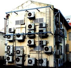 """""""As part of a talk yesterday, I used one of my photos from Singapore to help demonstrate the problem with Feature Creep. These are air conditioning units on an ice cream factory."""""""