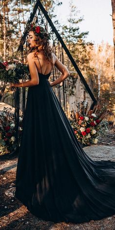 33 Beautiful Black Wedding Dresses That Will Strike Your Fancy ❤ black wedding dresses simple a line with spaghetti straps low back stylish bride ❤ #weddingdresses #weddingoutfit #bridaloutfit #weddinggown #women's style