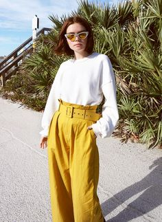Marigold is the color for spring—love it in a chic pant style.