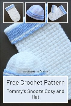 Shh! Little Tommy's snooze cozy and hat, make for your own little one or friends and family, free baby crochet pattern on crochetncreate. Crochet Sweaters, Baby Sweaters, Half Double Crochet, Single Crochet, Stitch Patterns, Crochet Patterns, All Free Crochet, Crochet Baby Clothes, Free Baby Stuff