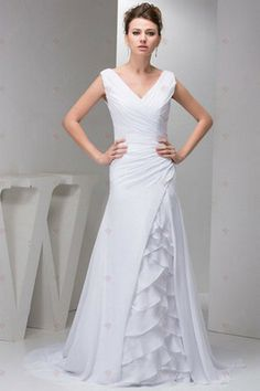 Mantel V-Ausschnitt Plissee Rüschen mit nachgestellten Chiffon Abendkleider 274,92 €   157,01 €