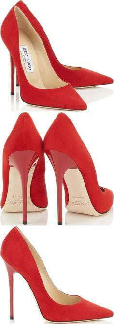 "Jimmy Choo  ""Anouk"" pumps in red suede #jimmychooheelssuede"
