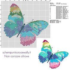 Una farfalla multicolore schema punto croce da ricamare gratis