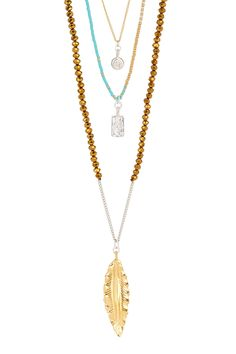 Chan Luu Feather Pendant & Charm Beaded Triple Strand Necklace by Chan Luu on @HauteLook