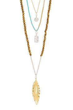 Chan Luu Feather Pendant & Charm Beaded Triple Strand Necklace by Chan Luu on @HauteLook