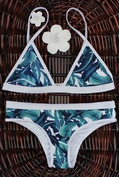Come in classic tropical green leaves pattern, this bikini features lightweight and unique pattern. Triangle bikini top. Take the beach fashion to the next level with olive green! more at Lillycloset.com