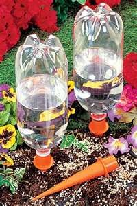 Make your own inexpensive slow drip irrigation system.Easy way to keep up with watering your flowers and veggies grown in containers.