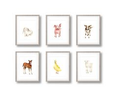 Farm Nursery Art Set of 6 Prints Animal by studioQgallery on Etsy