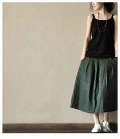 Green Cotton Long Women skirt linen Dress  ---2 colours via Etsy.