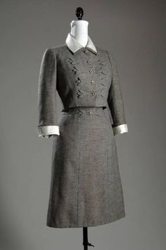 Ensemble, Mainbocher (1891-1976), France: 1958, black and brown wool tweed, silk organdy.