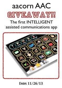 Only 4 days left for this Giveaway! aacorn AAC Giveaway — $190 app!  http://www.smartappsforkids.com/2013/11/aacorn-aac-giveaway-19000-app.html