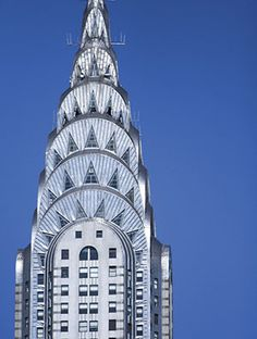 The Chrysler Building in Manhattan is a classic example of Art Deco architecture and features a number of these design elements. Description from gia.edu. I searched for this on bing.com/images