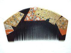 Vintage Japanese Hair Comb Kushi Kanzashi Black Lacquered Raden 4 5inch Geisha | eBay