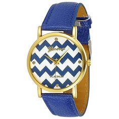 Women's Geneva Chevron Style Leather Watch - Blue Geneva