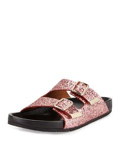 Swiss Glitter Double-Buckle Sandal, Pink by Givenchy at Bergdorf Goodman. $1050.00