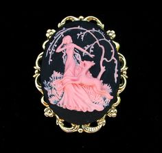 Art Deco Style Pink and Black Cameo Brooch or by Hurstjewelry, $14.50
