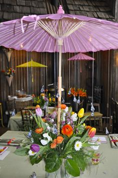 Patio Table [umbrella] Multi-purpose centerpiece out of PVC pipes and radiator screen that fits around the umbrella. Description from pinterest.com. I searched for this on bing.com/images