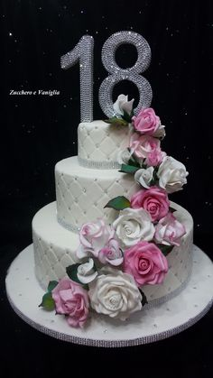 Wedding cake 18 anni Wedding cake 18 anni Un abito (no. Wedding Cake Pops, Cool Wedding Cakes, Wedding Cake Toppers, Birthday Cake Roses, Novelty Birthday Cakes, Debut Cake, Drip Cake Tutorial, Cake Pop Displays, 18th Cake