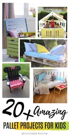 Do you have a bunch of old pallets laying around and have no idea what to do with them? Well, look no further. Here are some really cool DIY pallet projects for your kids. Check out these awesome fun and simple pallet ideas for kids. Genius upcycled pallet projects for kids' bedrooms, outdoor, playhouses, mud kitchens, and tents. Click through for more details! Pallet Kids, Pallet Ideas Easy, Wooden Pallet Projects, Outdoor Projects, Pallet Toddler Bed, Wooden Crafts, Outdoor Ideas, Diy Crafts For Kids Easy, Diy Gifts For Kids