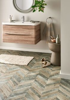 Looking for a standout feature for your bathroom? Make it our Natural Trends Graphite Herringbone Vinyl 🛁 ⭐ Slip resistant ⭐ Durable ⭐ Waterproof 🛒 Order your Free Samples today #Vinyl #VinylFlooring #Herringbone #HerringboneVinyl #HerringboneFlooring #Bathroom #FlooringSuperstore #Flooring #FlooringTrends #WoodFlooring #EngineeredWood #Home #Interiors #Interior #Laminate #Vinyl #Lvt #Carpet #Carpets #InteriorDesign #Decor #Decorating #HomeDecor Herringbone Wood Floor, Herringbone Backsplash, Granite Flooring, Vinyl Plank Flooring, Wood Floor Bathroom, Floor Design, Traditional House, Trends, Natural