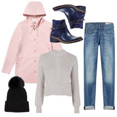Cuffed denim, a comfy sweatshirt, rain booties, a cute coat, and a pom beanie make the perfect weekend rainy day outfit