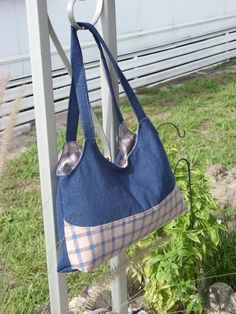 Angel bag from leftover Denim and a sheet. Cute.