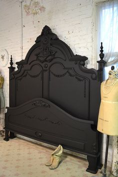 Painted Cottage Shabby French Black Romantic Bed KING Painted Cottage Shabby French Black Romantic by paintedcottages The post Painted Cottage Shabby French Black Romantic Bed KING appeared first on Upholstery Ideas. French Cottage, Shabby Cottage, French Bed, French Chic, French Country, Muebles Shabby Chic, Victorian Bed, Painted Beds, Painted Headboard