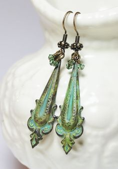 Handmade Jewelry Earrings Beaded Patina Metal by Fanceethat, $22.00