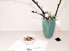 Gesundes veganes Frühstück: Apfel-Hirsebrei mit Zimt und Rosinen