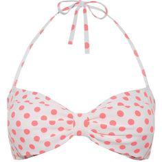 Neon Coral Textured Polka Dot Bandeau Bikini Top ($11) ❤ liked on Polyvore featuring swimwear, bikinis, bikini tops, bikini, swim suit, bikini top, halter swimsuit, neon bikini, coral bikini top and halter bikini