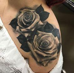 Blackwork Rose Tattoo on Shoulder by Fred Flores