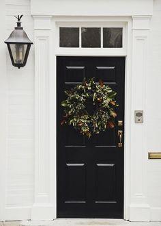 neutral front door christmas decor