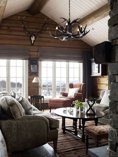 Trendy Home Living Room Cozy Cabin Ideas Living Room Paint, Cozy Living Rooms, My Living Room, Home And Living, Salons Cosy, Log Home Interiors, Log Cabin Homes, Log Cabins, Rustic Cabins